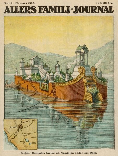 EVENTS/ANCIENT ROME. Caligula's floating palace on Lake Nemi, near Rome Date: circa 40