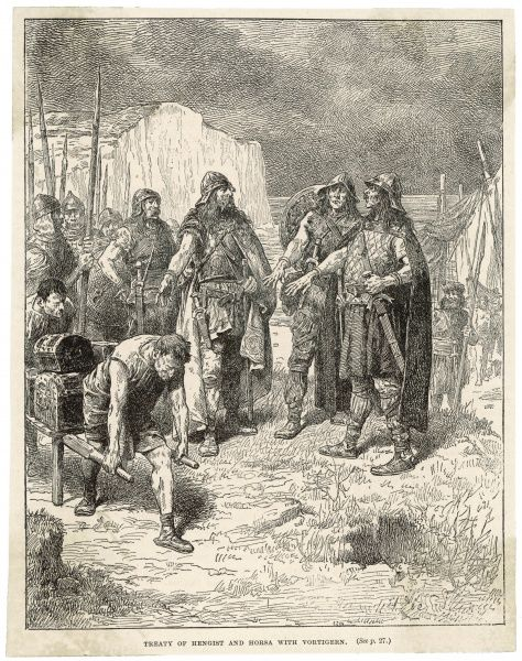 Vortigern, prince of south- east Britain, makes a treaty with the Saxon leaders Hengist and Horsa to repel his northern enemies