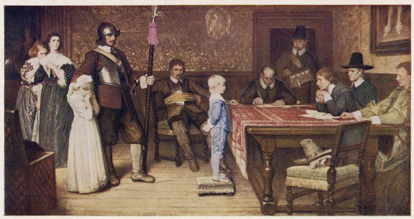 WHEN DID YOU LAST SEE YOUR FATHER. Parliamentary supporters interrogate the child of a Royalist