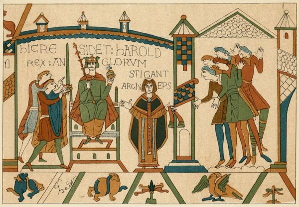 Harold, despite his oath of fealty to William duke of Normandy, is crowned king of England at Westminster