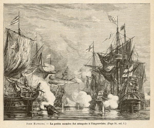 John Hawkins surprised and defeated by a Spanish fleet off San Juan d'Ulloa, escpaing with great loss & returning ruined to England