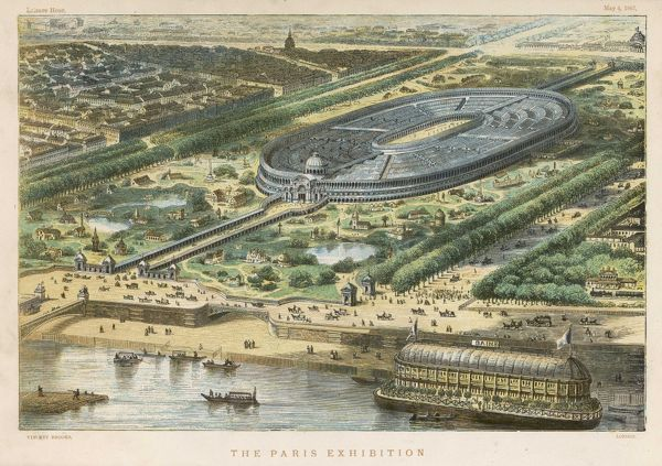 Bird's-eye view of the site of the exhibition, erected on the Champ de Mars, where the Tour Eiffel was subsequently located ; note the splendid bathing boat on the Seine