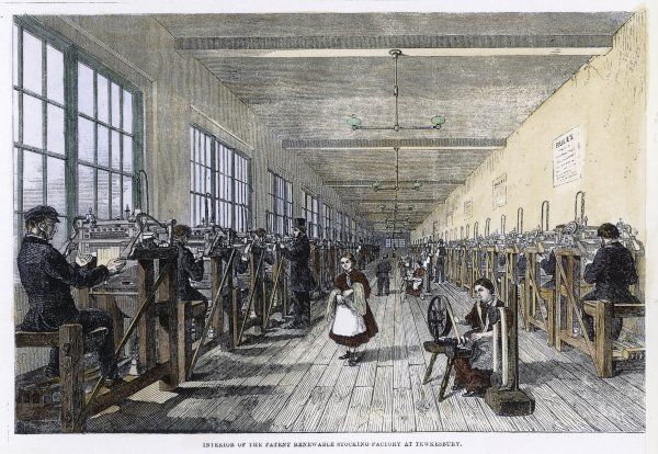 Men & women at work in the Patent Renewable Stocking factory at Tewkesbury, England