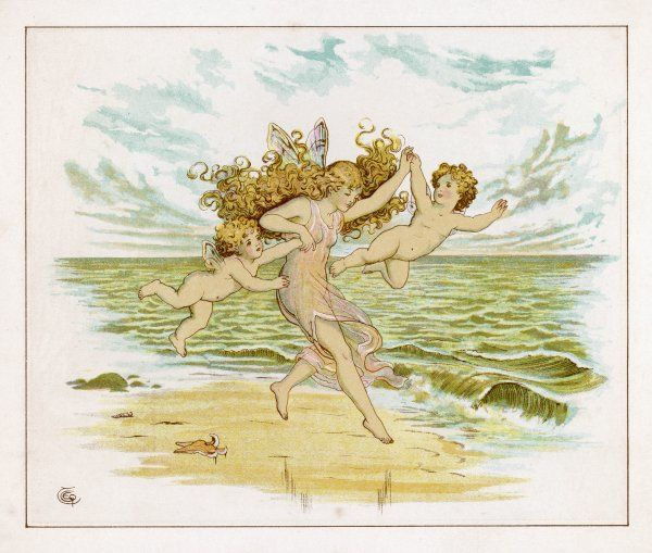 Three fairies with very tiny wings, clearly inadequate for the purpose of flight, run happily along a sandy beach