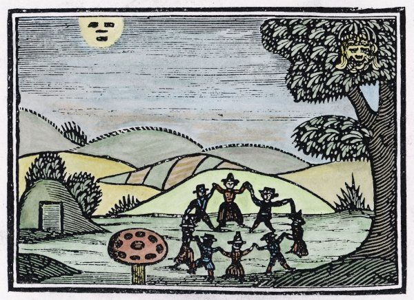 A group of fairies dancing in a ring close to the doorway of their fairy mound Date: circa 1600