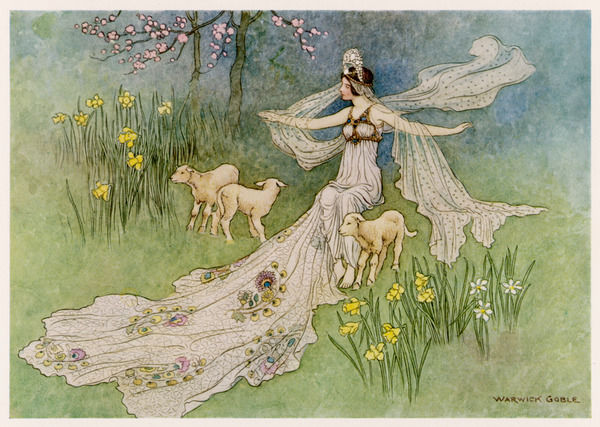 The Fairy Coquette - with three wolves which she has just transformed into lambs