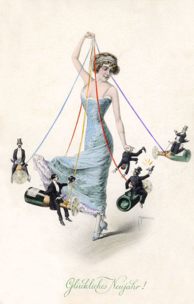 Fantasy Austrian New Year Maypole - A glamorous young lady enjoys toying with her formerly-dressed suitors, all in miniature form and flying around her on champagne bottles, each with a propeller and held aloft by coloured ribbons