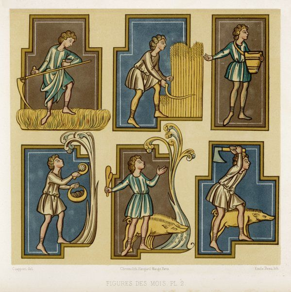 Various scenes on the theme of farming ('Figures des Mois') Date: 13th Century