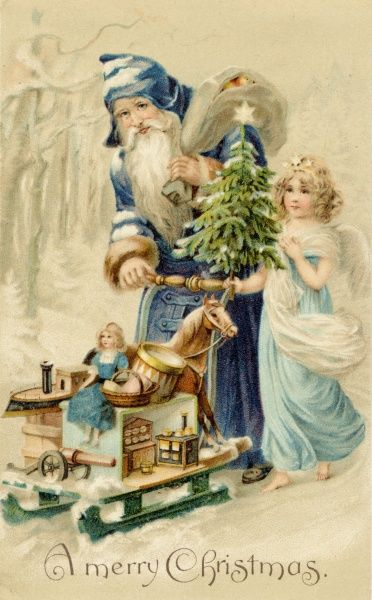 FATHER CHRISTMAS. Father Christmas delivers presents with the help of an angel
