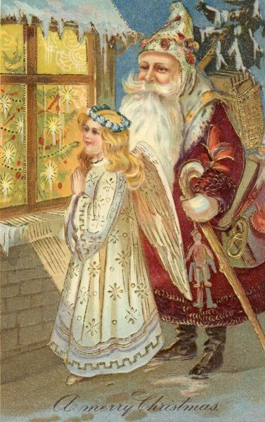 FATHER CHRISTMAS. Father Christmas and an angel look in through the window
