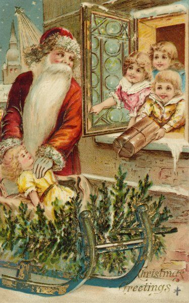 Father Christmas arrives with presents on a sleigh much to the delight of some children keeping watch for him out of their window Date: 19th century