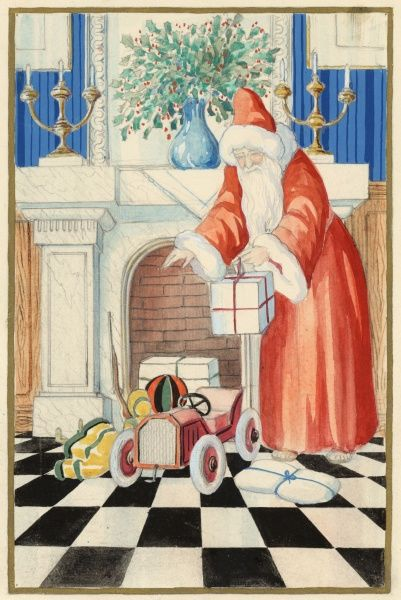 Father Christmas puts out a selection of toys and presents in front of a fireplace which has a lovely vase of holly and two candlesticks on it