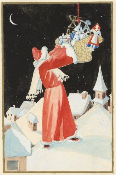 Father Christmas stands on a snowy rooftop, reaches into his basket of toys and presents and selects one to put down a lucky child's chimney