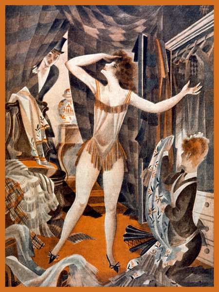 A scantily-clad young woman can't decide what to wear; her gentleman friend peeps round the curtain unconcerned