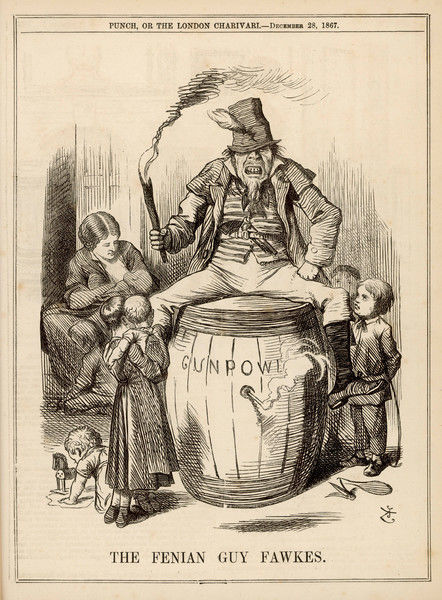 'The Fenian Guy Fawkes' - sitting on a keg of gunpowder ready to explode
