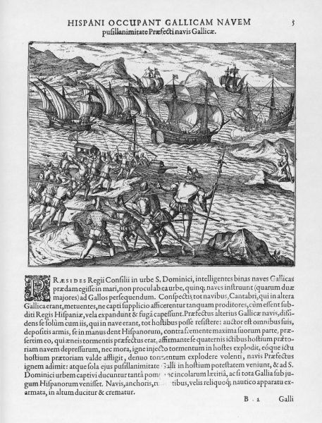 Fighting between French and Spanish at Hispaniola (Haiti)