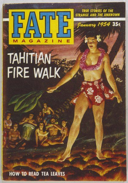 FIREWALKING, TAHITI. Native woman of Tahiti performing a firewalk in scanty attire
