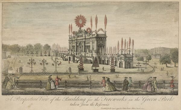 A fireworks display at Green Park to celebrate the Peace of Aix-la-Chapelle which marked the end of the War of Austrian Succession