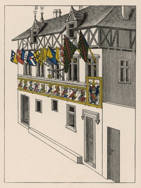 A house decorated with various flags during a jousting tournament (possibly France)