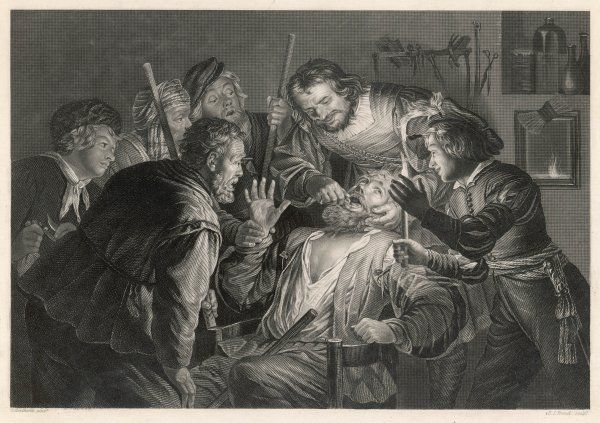 A Flemish tooth-drawer has an audience gathered round him while he operates on a patient