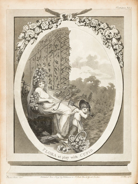 Flora at play with Cupid. Engraving by S. Alkin, from Erasmus Darwin, The Botanic Garden: a poem in two parts. Frontispiece for Vol.2. Date: 1791-94