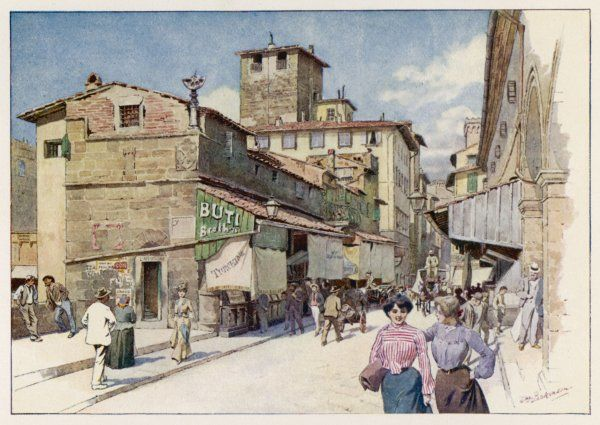 On the PONTE VECCHIO - shops and passers-by