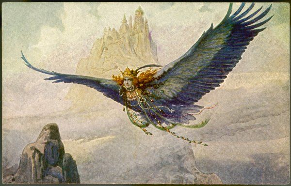 FOLKLORE/BIRDWOMAN. The Bird-Princess soars through the skies near her mountain castle