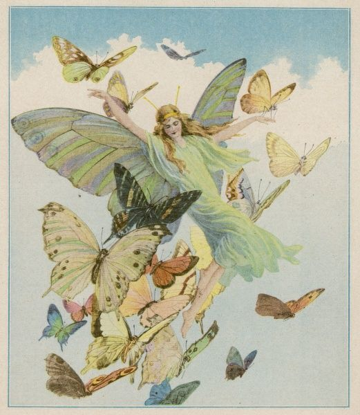 FOLKLORE/FAIRIES. Fairy flying with butterflies