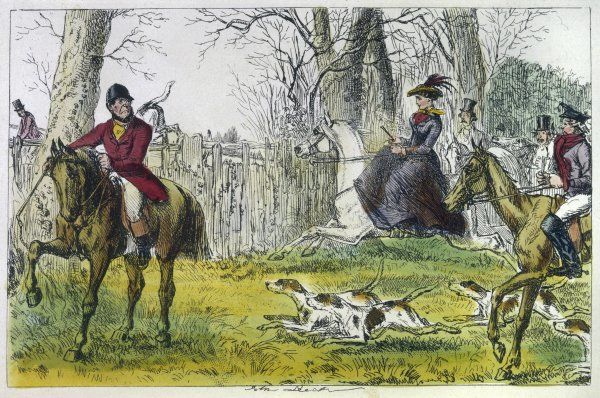 FOX HUNTERS (LEECH). The hunt in full flight - 'Lucy Glitters shows the way'