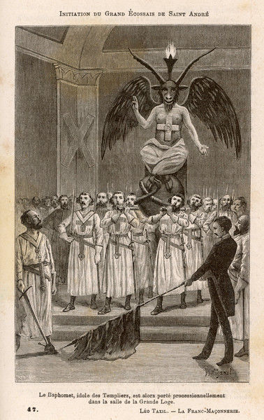 Image of Baphomet carried in a procession at the initiation of a high Scottish rite