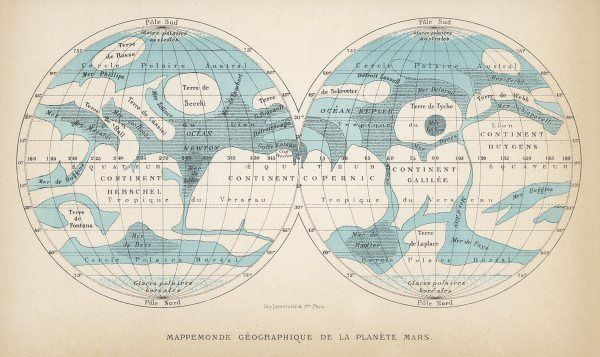 A French map of the planet Mars, showing two views