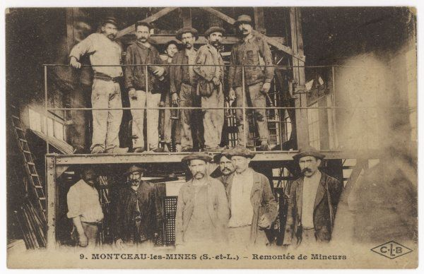 FRENCH MINERS. French miners at Montceau-les- Mines, central France