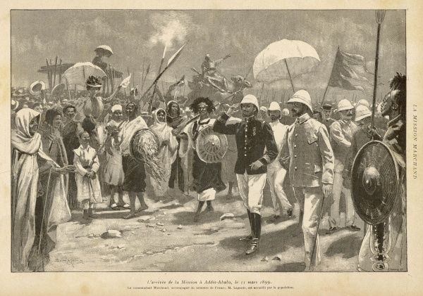 The French mission, led by Marchand, arrives in Addis Ababa