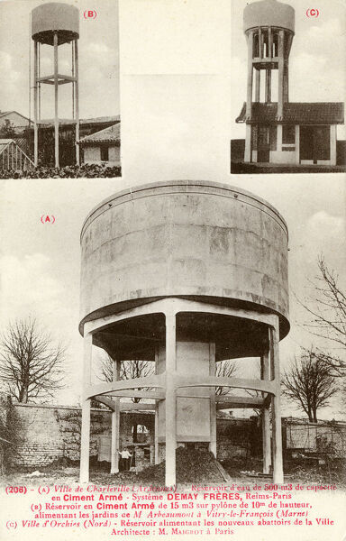French Water Towers - Built in Reinforced Concrete