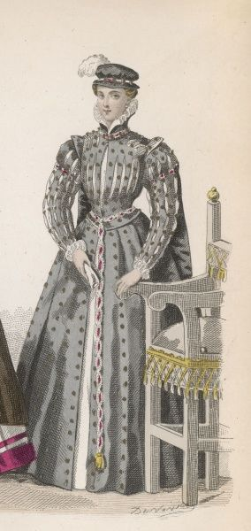 Frenchwoman 1558. The sombre grey of this lady's dress