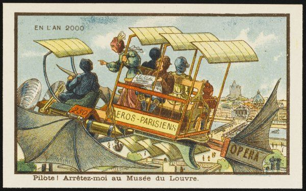A futuristic airbus in Paris, with aerofoils and bat-like wings. 'Pilot, drop me off at the Louvre !'