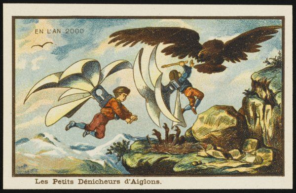 A futuristic scene showing two naughty boys birdsnesting with the help of wings. The mother eagle has spotted them and they are having to fight her off