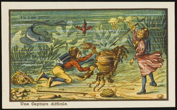 Futuristic crab hunting, with children on the seabed wearing diving helmets