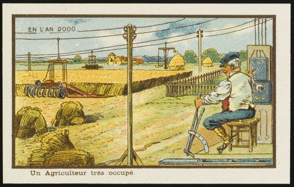 An example of futuristic farming, the automated way. The farmer sits on a chair and operates the controls, while machinery does the harvesting