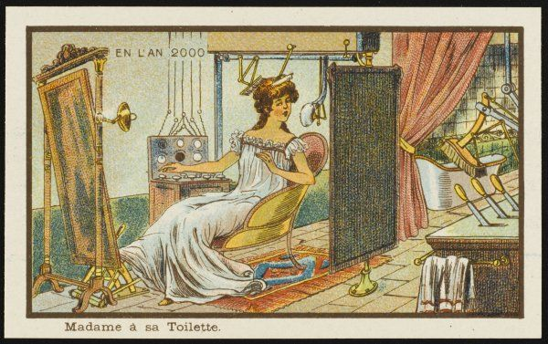 A futuristic scene, showing a woman doing her toilette the mechanised way, so that she hardly needs to lift a finger