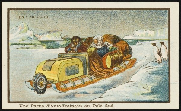 A futuristic snowmobile at the South Pole -- two penguins seem a little startled