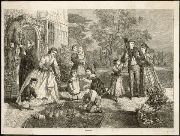 GARDEN FAMILY 1864. A large and happy family do the gardening together