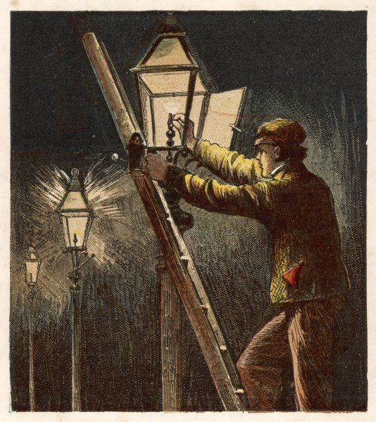 Lamplighter carrying out his duty up ladder