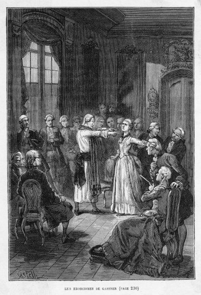 GASSNER CURES. GASSNER cures his subject Emilie by exorcism at Ellwagen, Germany