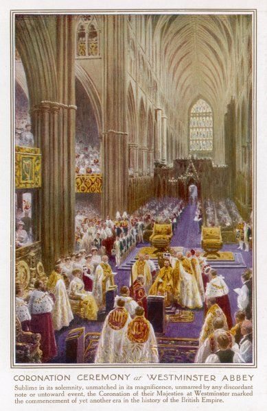 GEORGE V CORONATION. GEORGE V and MARY are crowned in Westminster Abbey, London