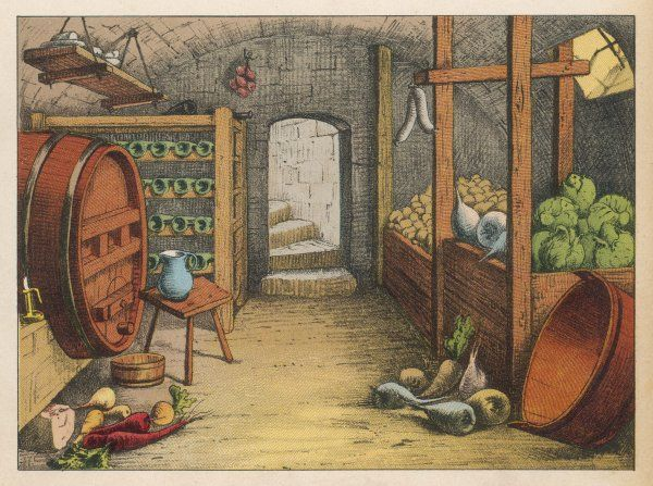 GERMAN CELLAR. Cellar with vegetables, wine racks and beer barrel