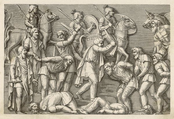 Germans reluctant to submit to the invading Romans are beheaded
