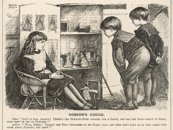 A girl shows two inquisitive boys in sailor suits her doll's house