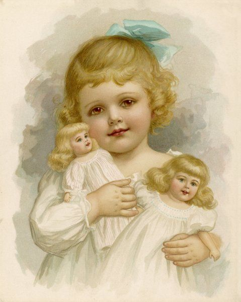 A little girl with a blue ribbon in her hair clutching her dolls