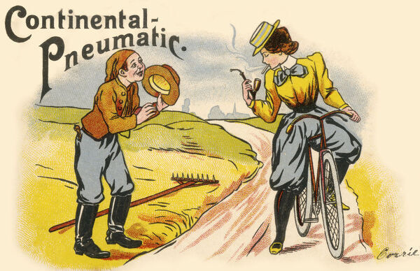 Continental Pneumatic Tyre Company (of Hanover, Germany) advertising postcard, featuring a touching scene as a glamorous and confident lady cyclist stops to grab a light for her cigarette from a delighted young country lad's pipe. Date: 1901